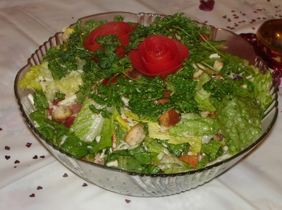 rose on salad