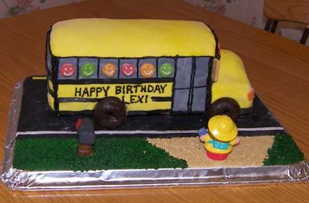 Terrific School Bus Birthday Cake Happy 7Th Birthday Lexi Kitchen Personalised Birthday Cards Cominlily Jamesorg