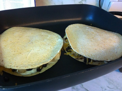 chicken quesadillas frying