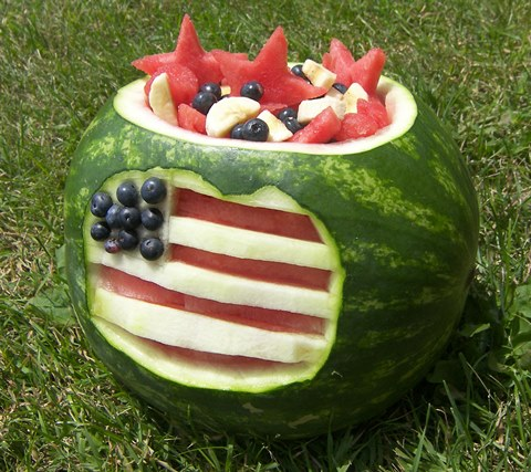 4th of July flag watermelon bowl